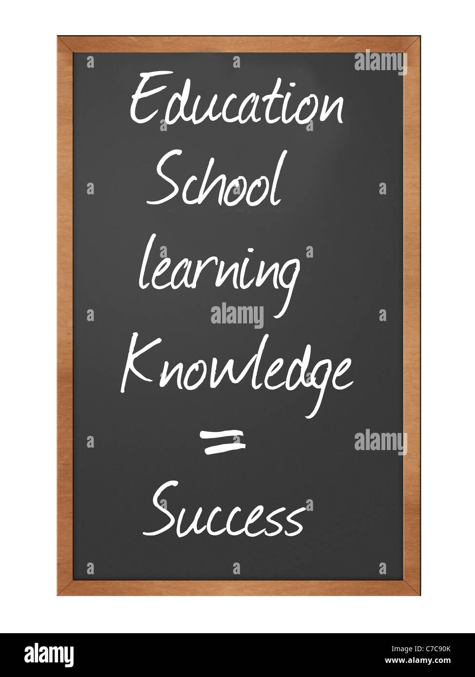 blackboard illustration with education, learning, school, and knowledge equals success Stock Photo