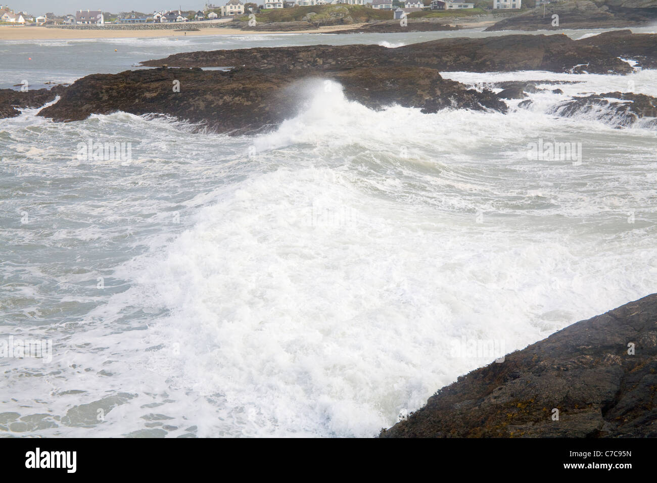 Trearddur Bay Isle of Anglesey North Wales September Waves crashing over rocks blown by gale force winds - Stock Image