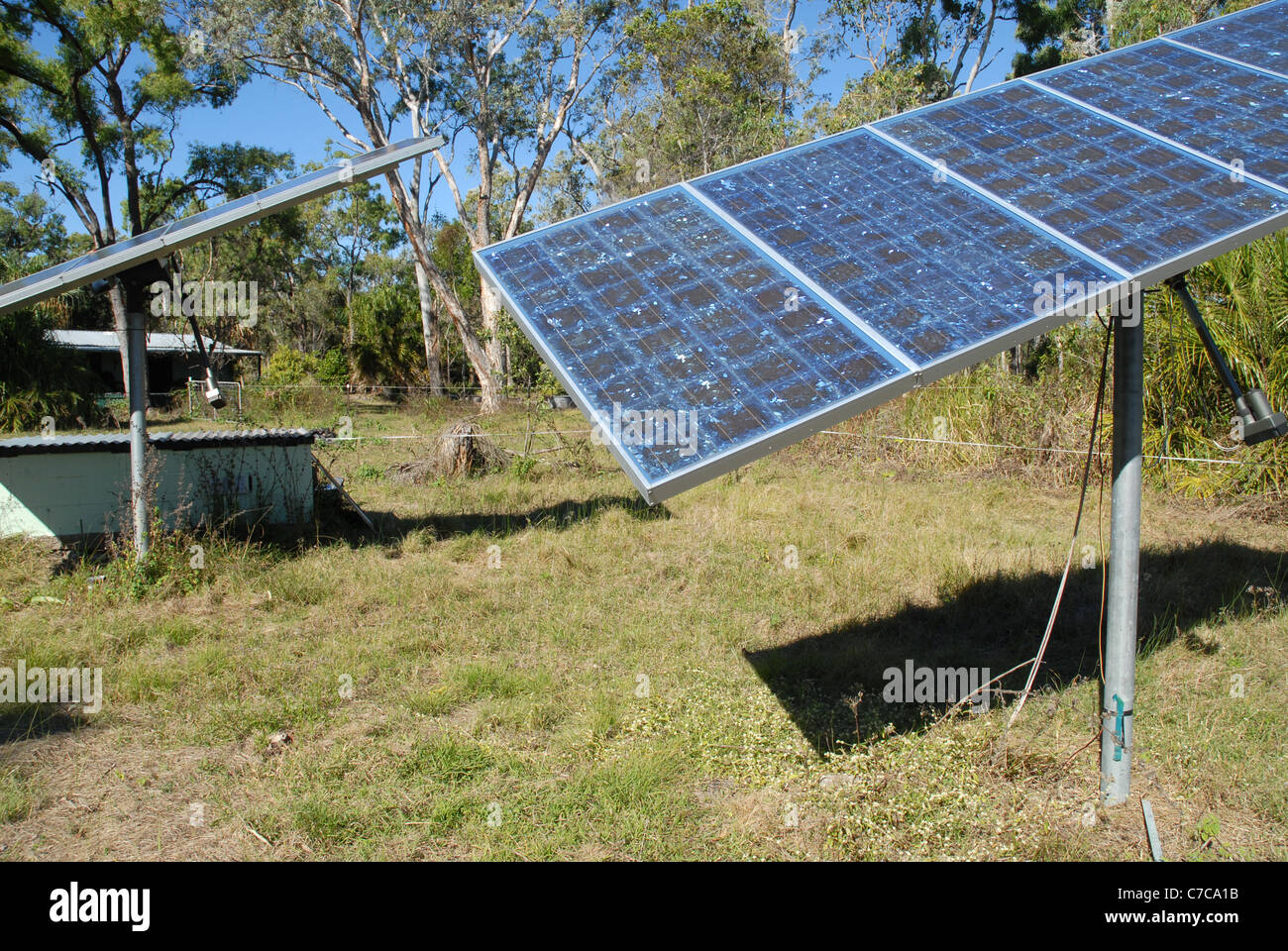 Solar PV panels installed in a rural property in the outback, Queensland,  Australia. - Stock Image