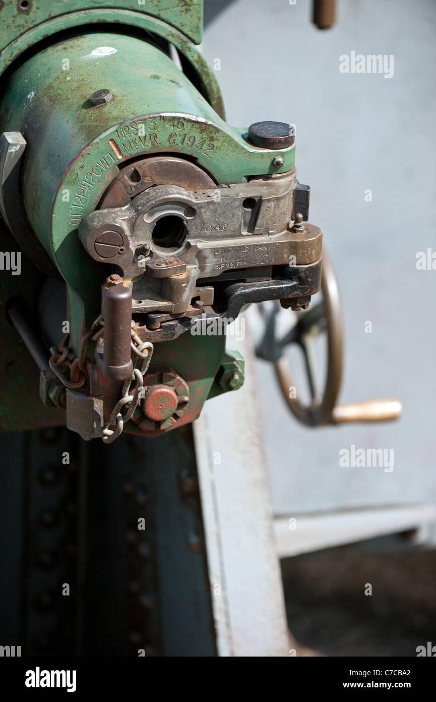 The breech of a 12 pdr artillery gun at Tilbury Fort in Essex - Stock Image