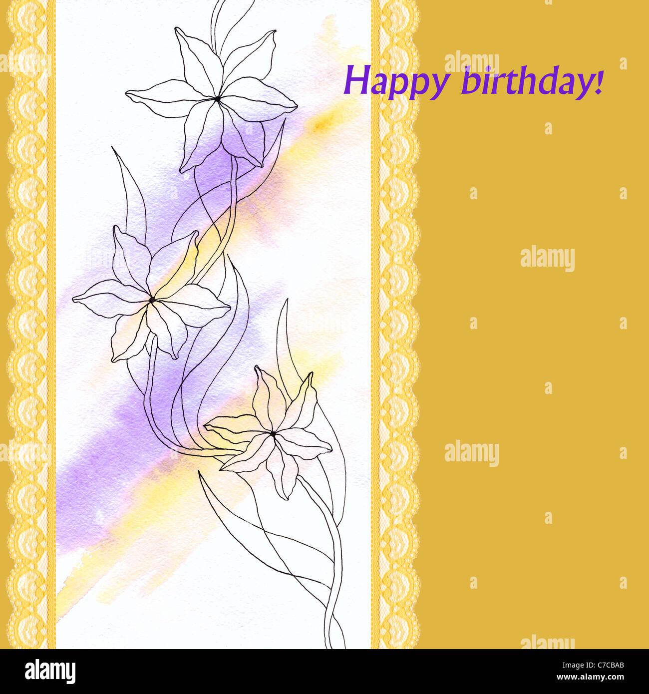 Birthday Card With Flowers Stock Photos Birthday Card With Flowers