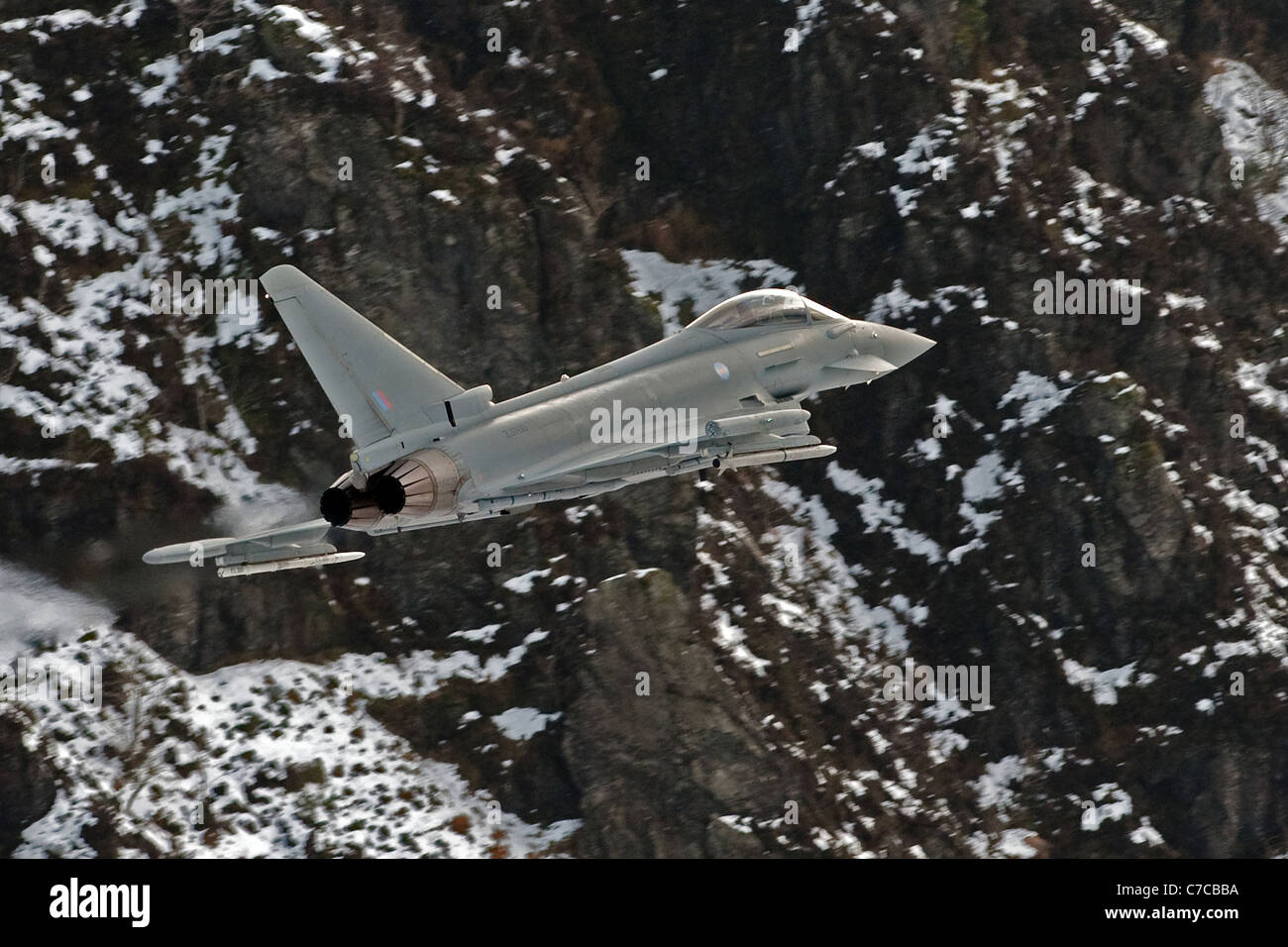 Royal Air Force Eurofighter Typhoon aircraft on a low flying training flight over the hills of mid Wales, shot from Stock Photo