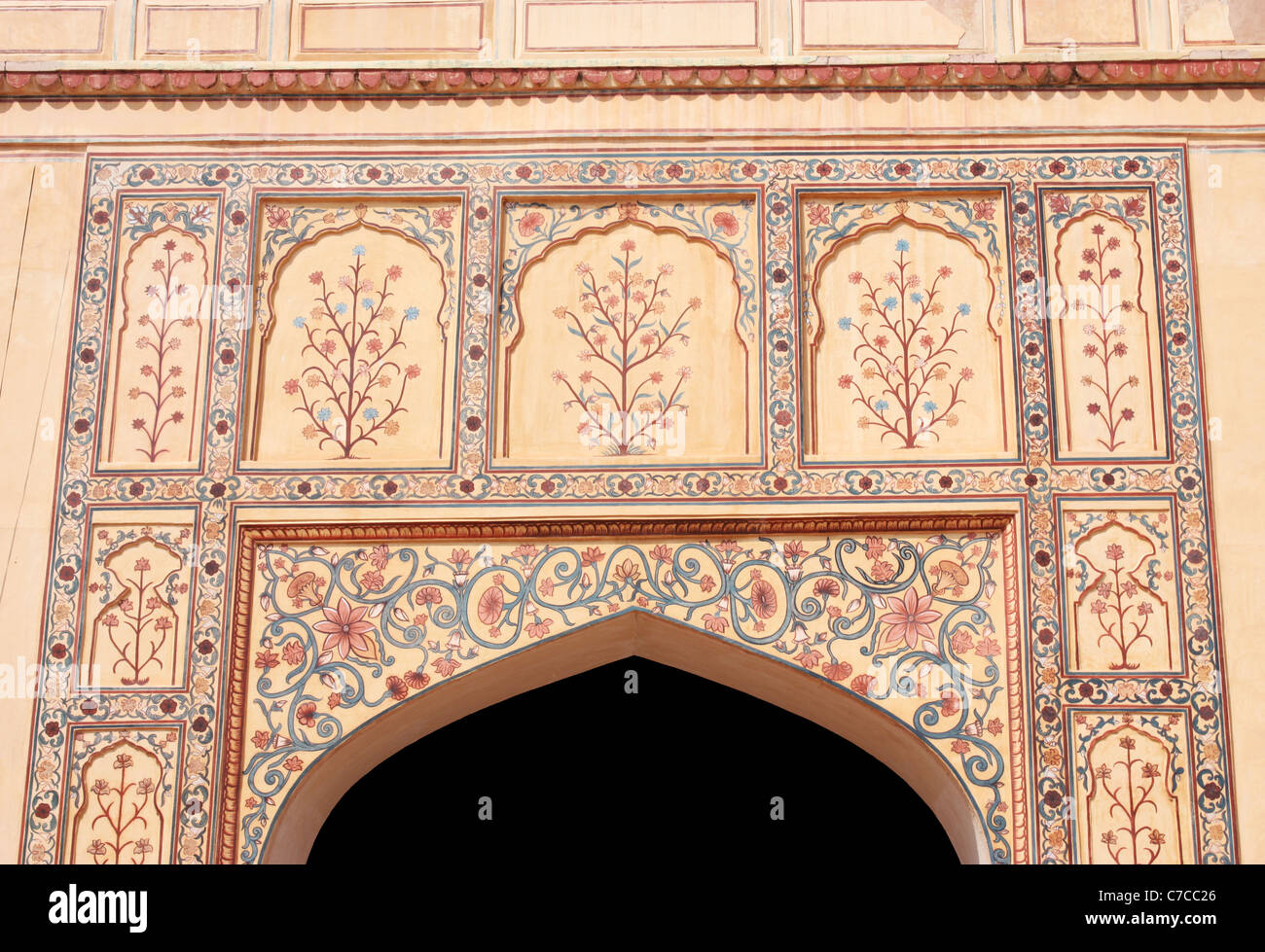 Art work and design in the gate of a palace in Jaipur, Rajathan - Stock Image