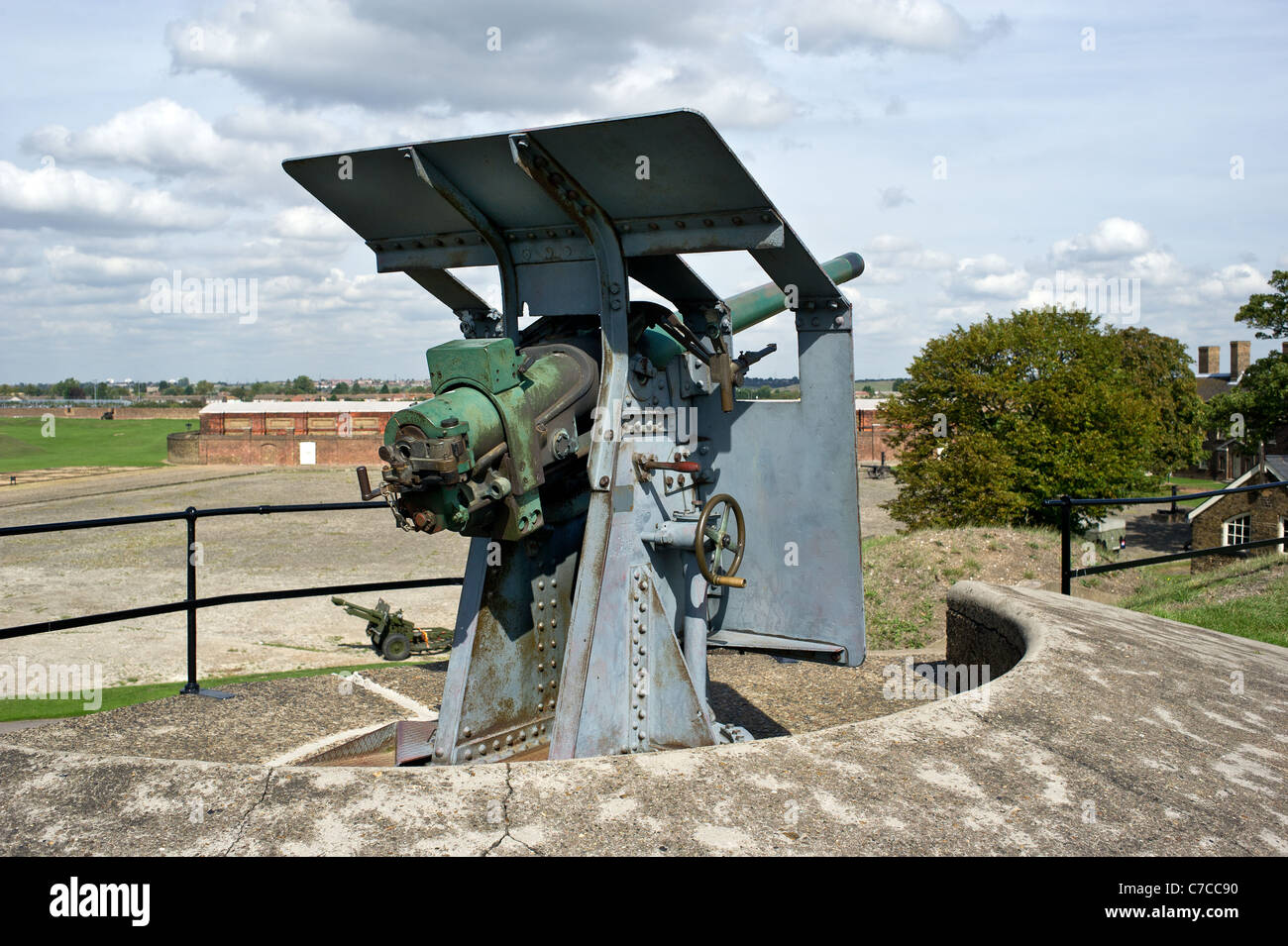 A 12 pdr gun at Tilbury Fort in Essex - Stock Image
