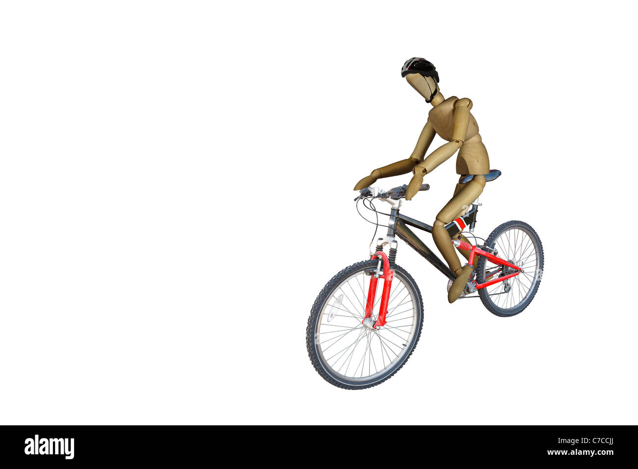 Red and Black Mountain/Off Road Bicycle being ridden by a wood doll  Isolated on white with work path - Stock Image