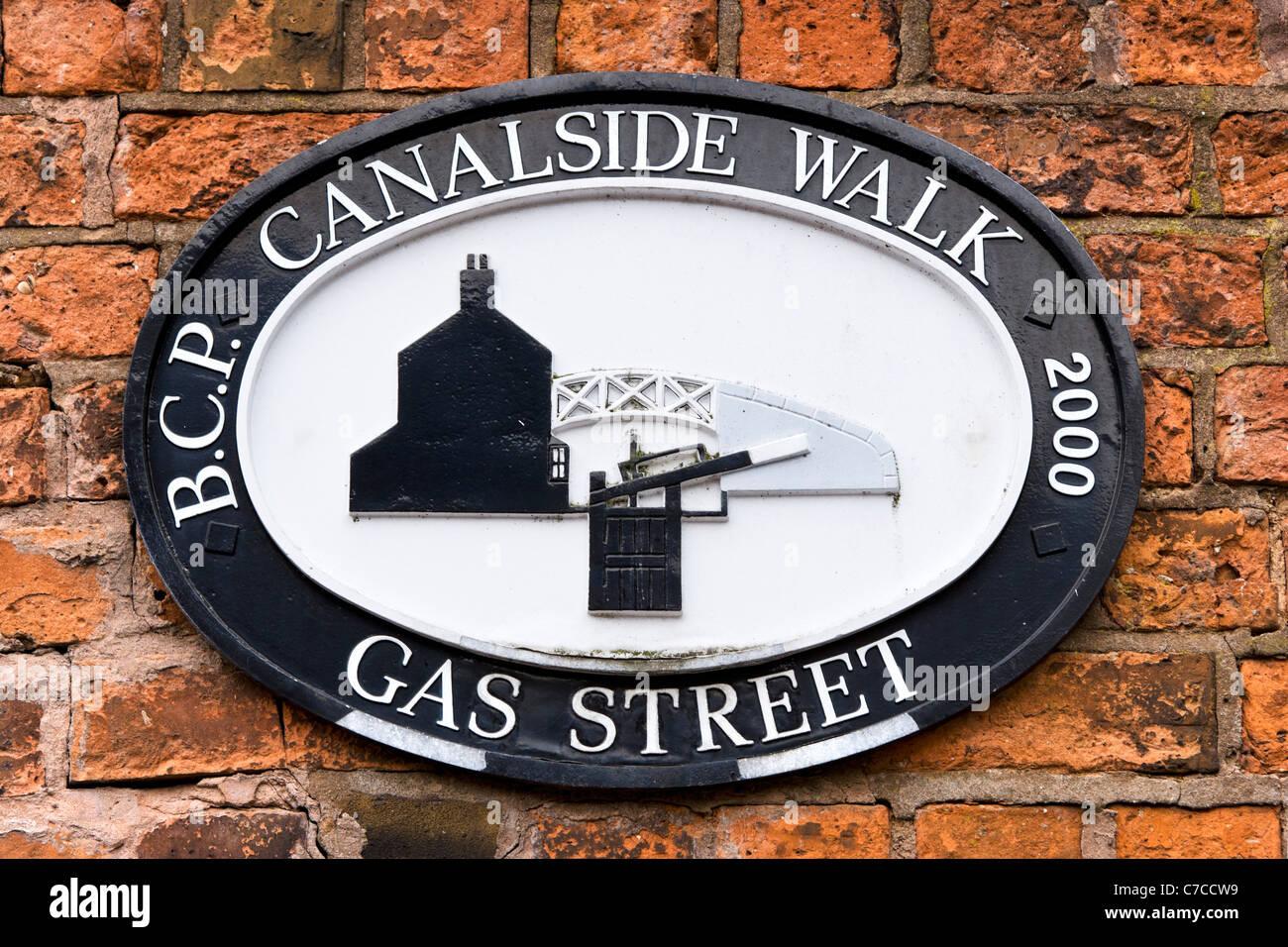 Sign for canalside walk at Gas Street Basin, Birmingham, West Midlands, England, UK - Stock Image