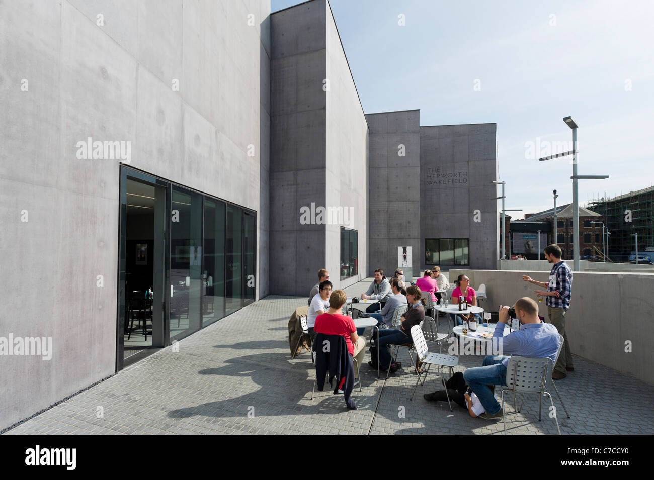 Cafe terrace at The Hepworth Wakefield art gallery, Wakefield, West Yorkshire, UK - Stock Image