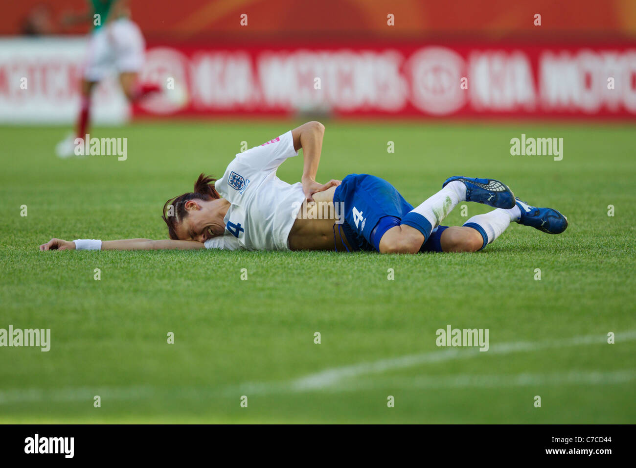 Jill Scott of England grimaces after being shaken up during a FIFA Women's World Cup Group B match against Mexico Stock Photo