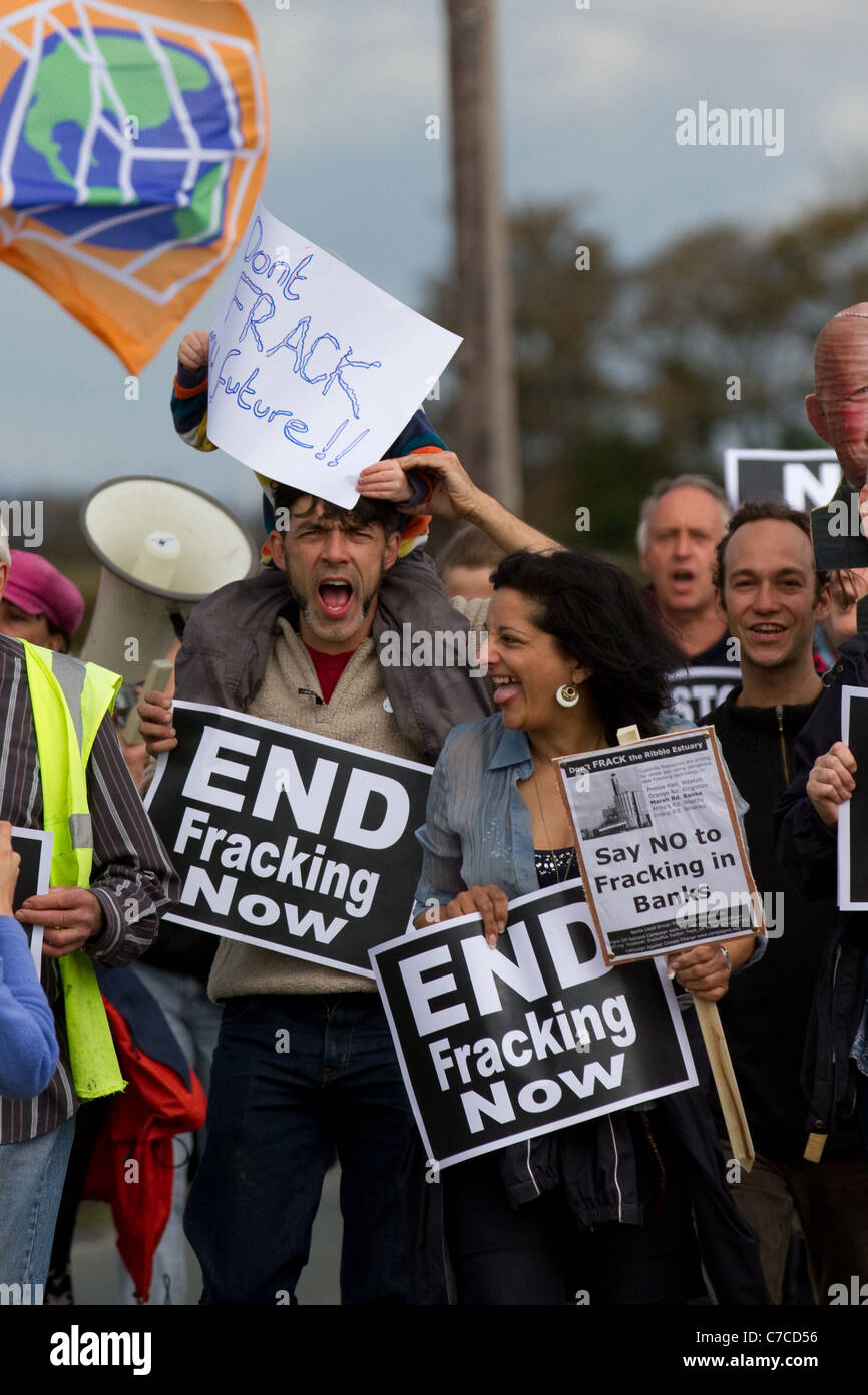 Local people in Camp Frack Protest Encampment & March against Hydraulic Water Fracturing & Shale-gas production - Stock Image