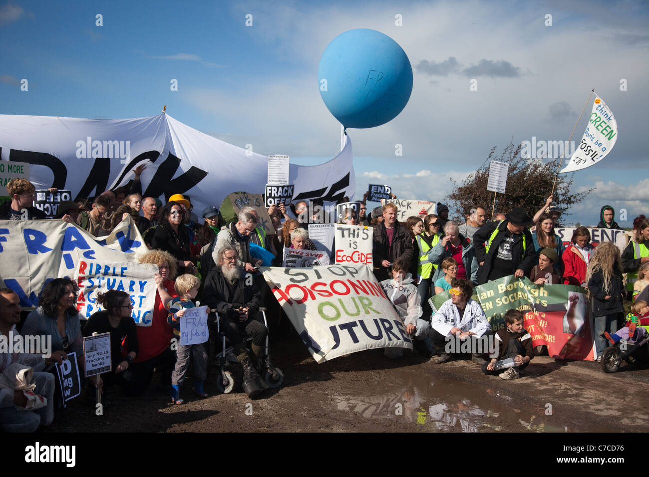 Camp Frack_Protest Encampment & March against Hydraulic Water Fracturing & Shale-gas production at Becconsall, - Stock Image