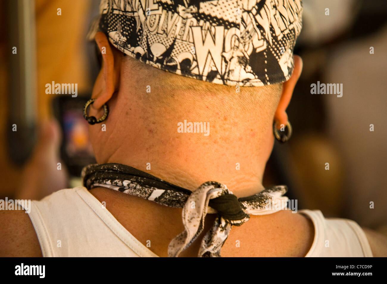 Man's Neck with black foulard, Arizona USA Stock Photo