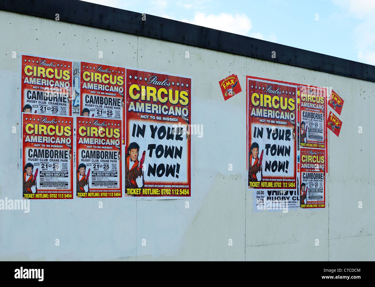 Posters advertising a visiting circus in Camborne, Cornwall, UK - Stock Image