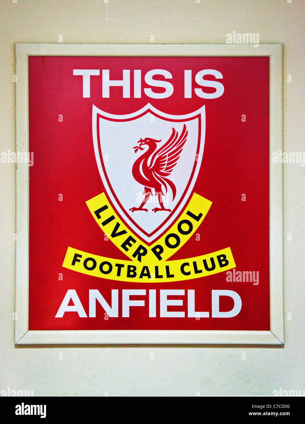 The famous ' this is anfield ' sign in the players tunnel at Anfield, home of Liverpool football club, England, - Stock Image