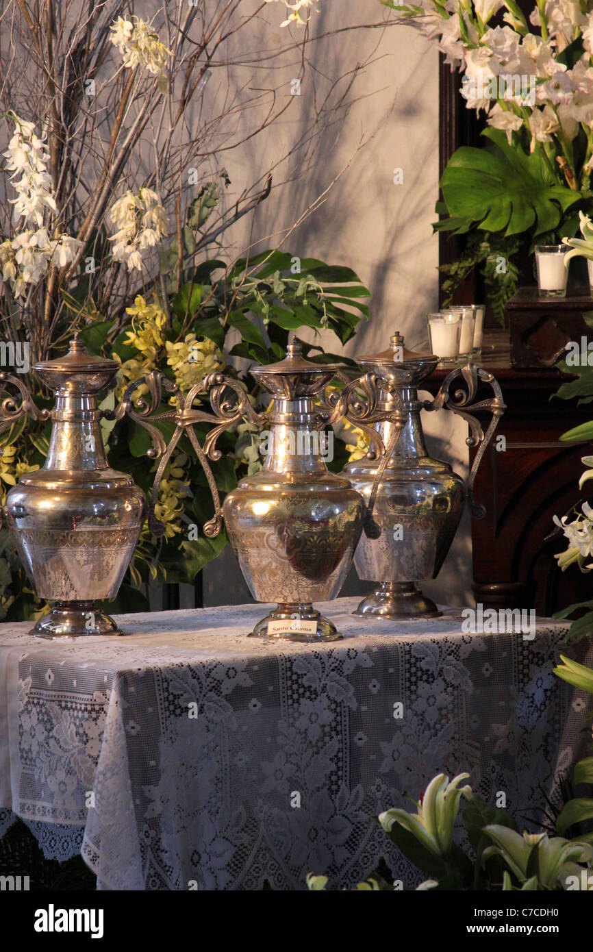 Holy water amphoras at a catholic church in Panama City, Panama ...