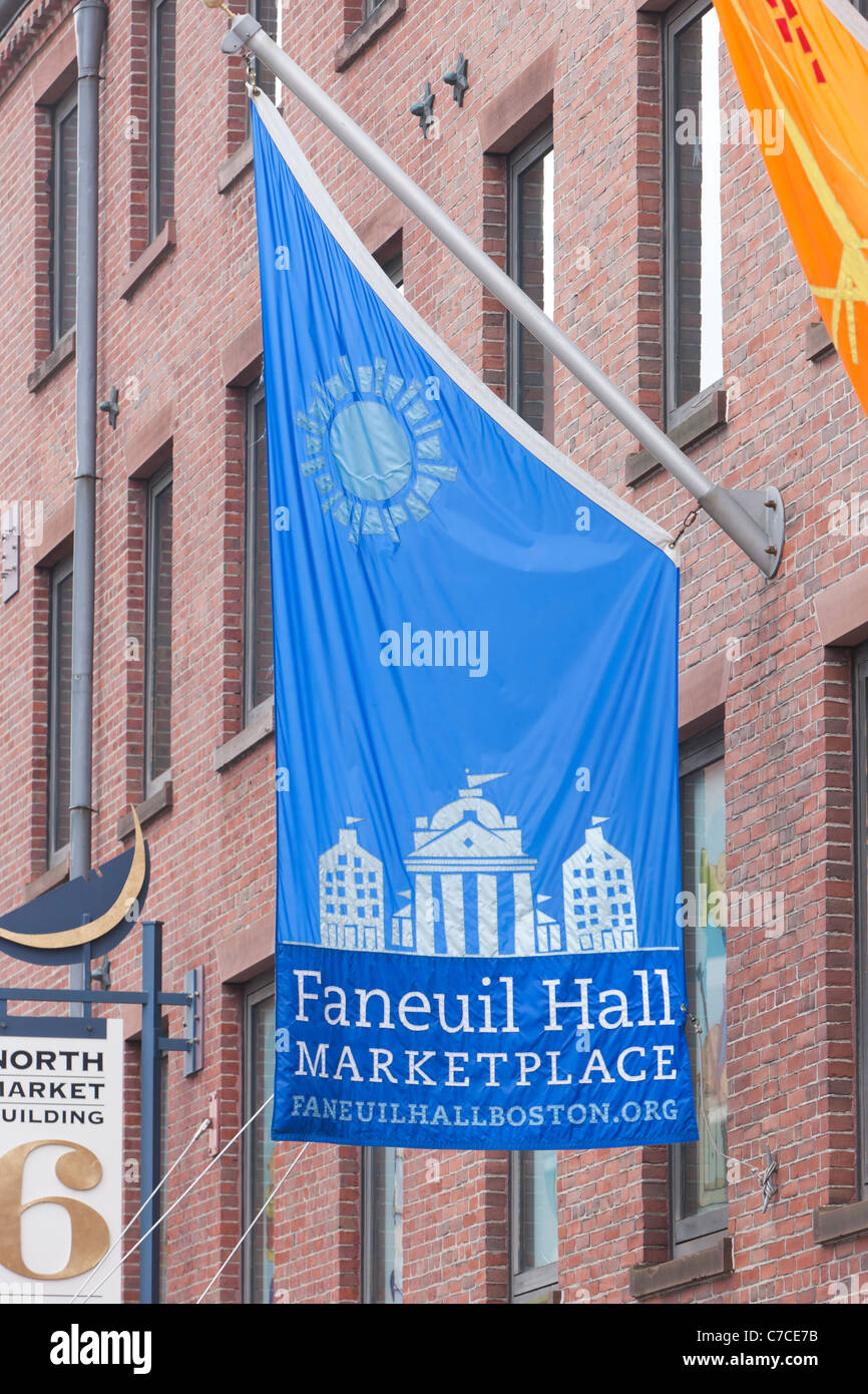 A banner outside of Faneuil Hall Marketplace in Boston, Massachusetts. - Stock Image