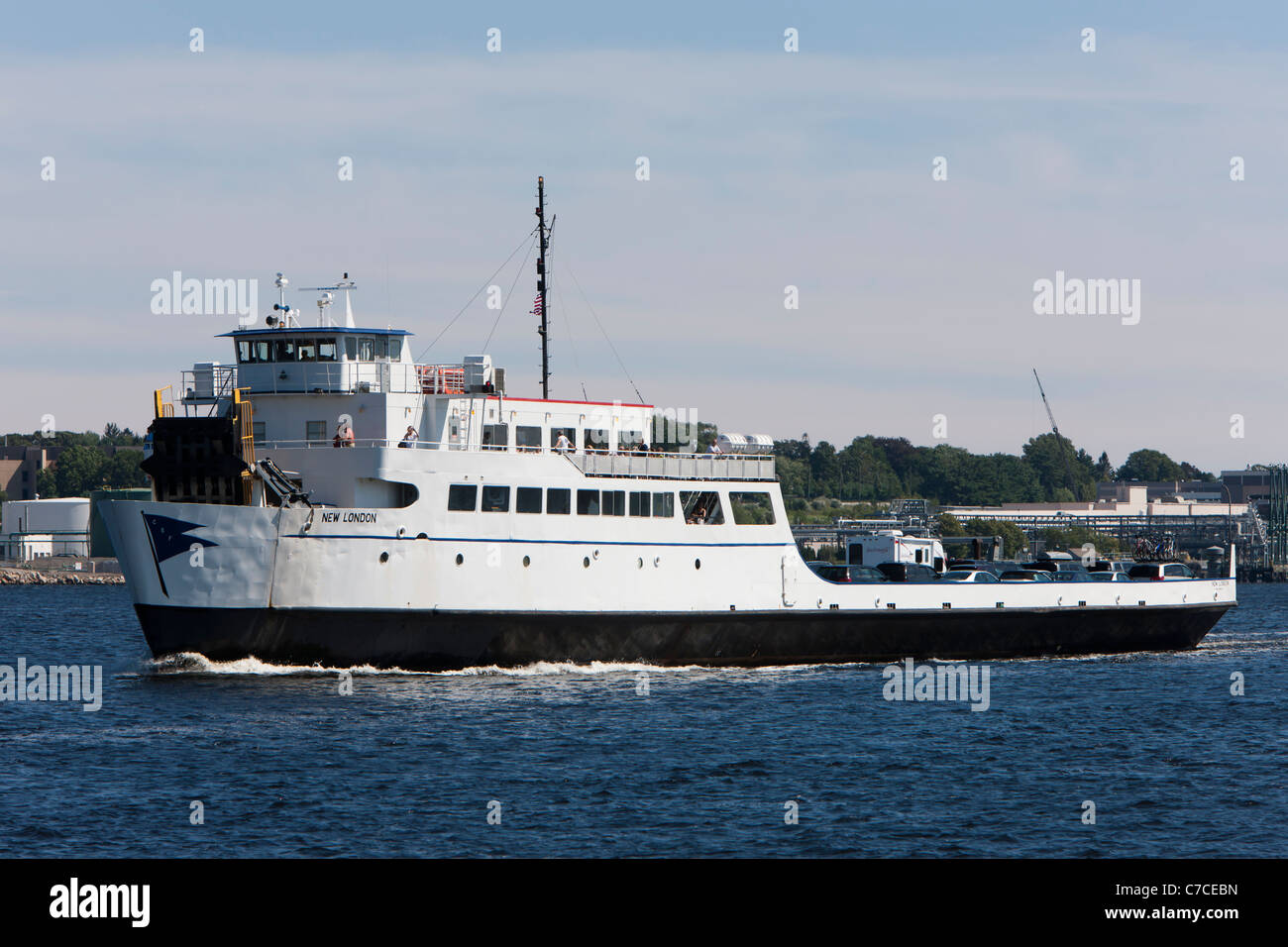 Cross Sound Ferry vessel New London on the Thames River heading inbound to New London, Connecticut. - Stock Image