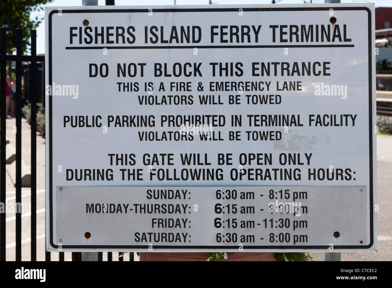Entrance sign for the Fishers Island Ferry Terminal in New London, Connecticut. - Stock Image