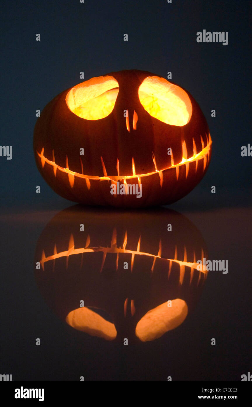 Carved Halloween pumpkin in the shape of Jack Skeleton from the film ...