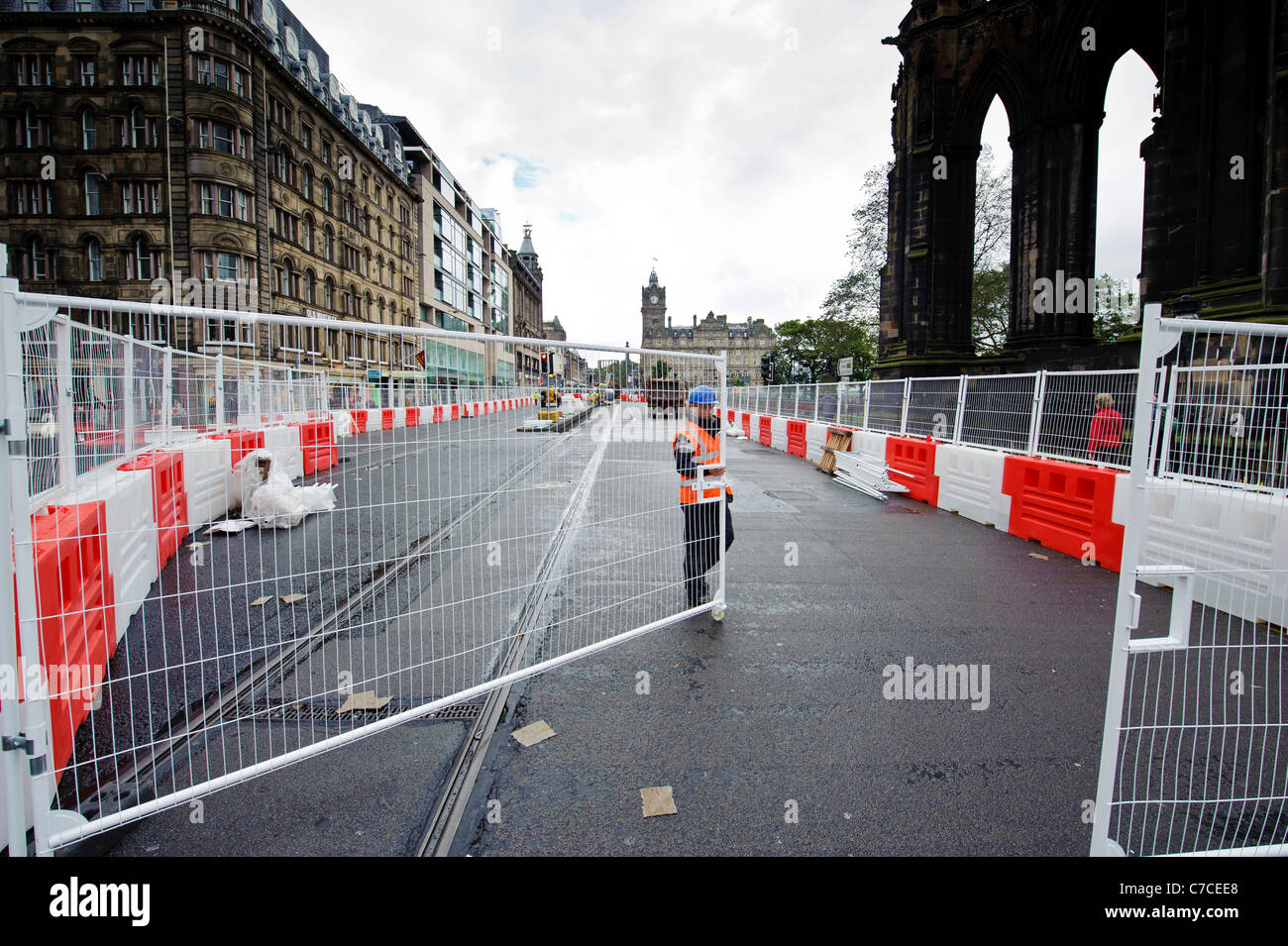 Work on the Edinburgh Tram system completely closes Princes Street for up to 10 months from September 2011 - Stock Image