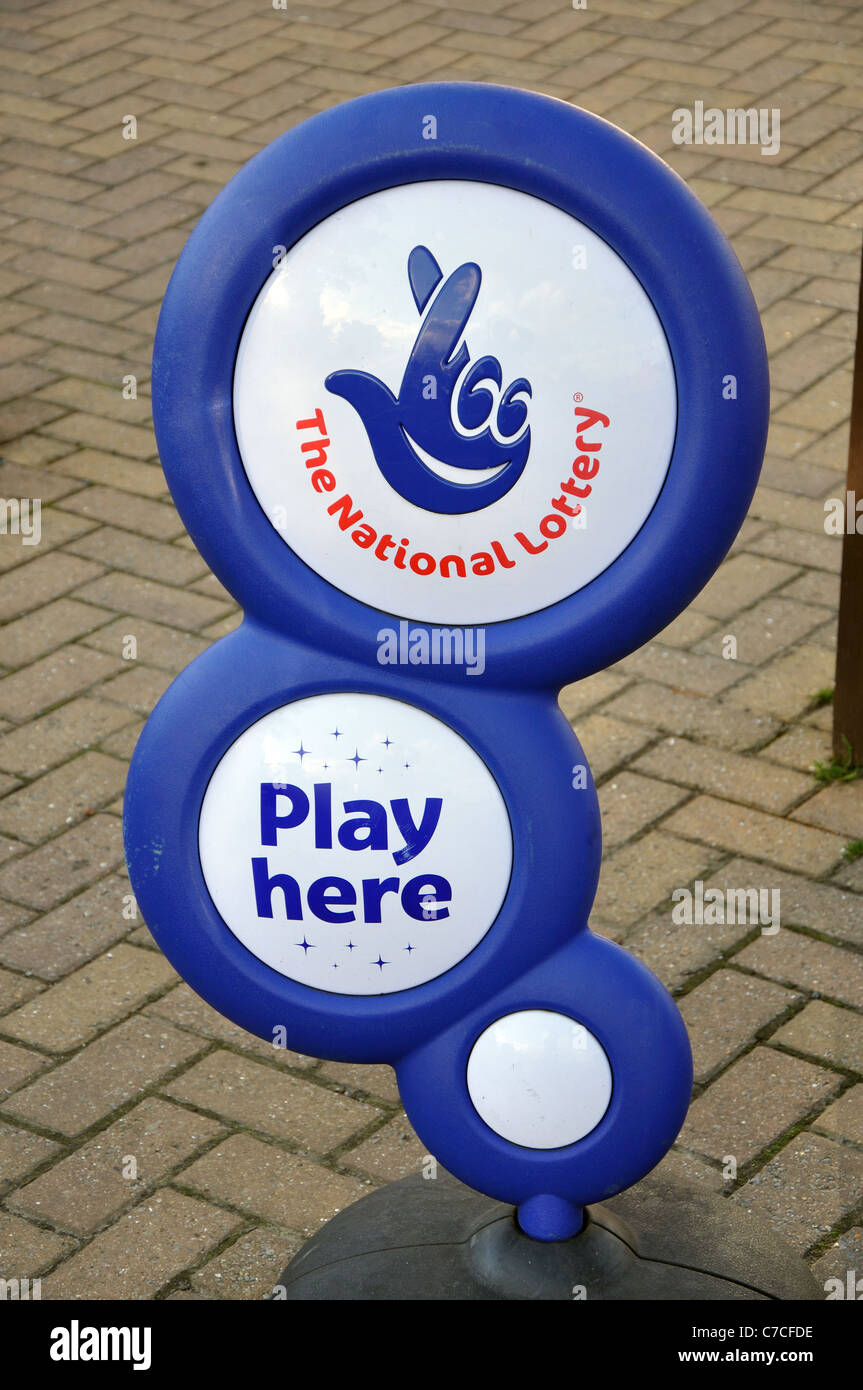 The National Lottery, Play Here sign, Robin Hoods Bay, North Yorkshire, England, UK - Stock Image