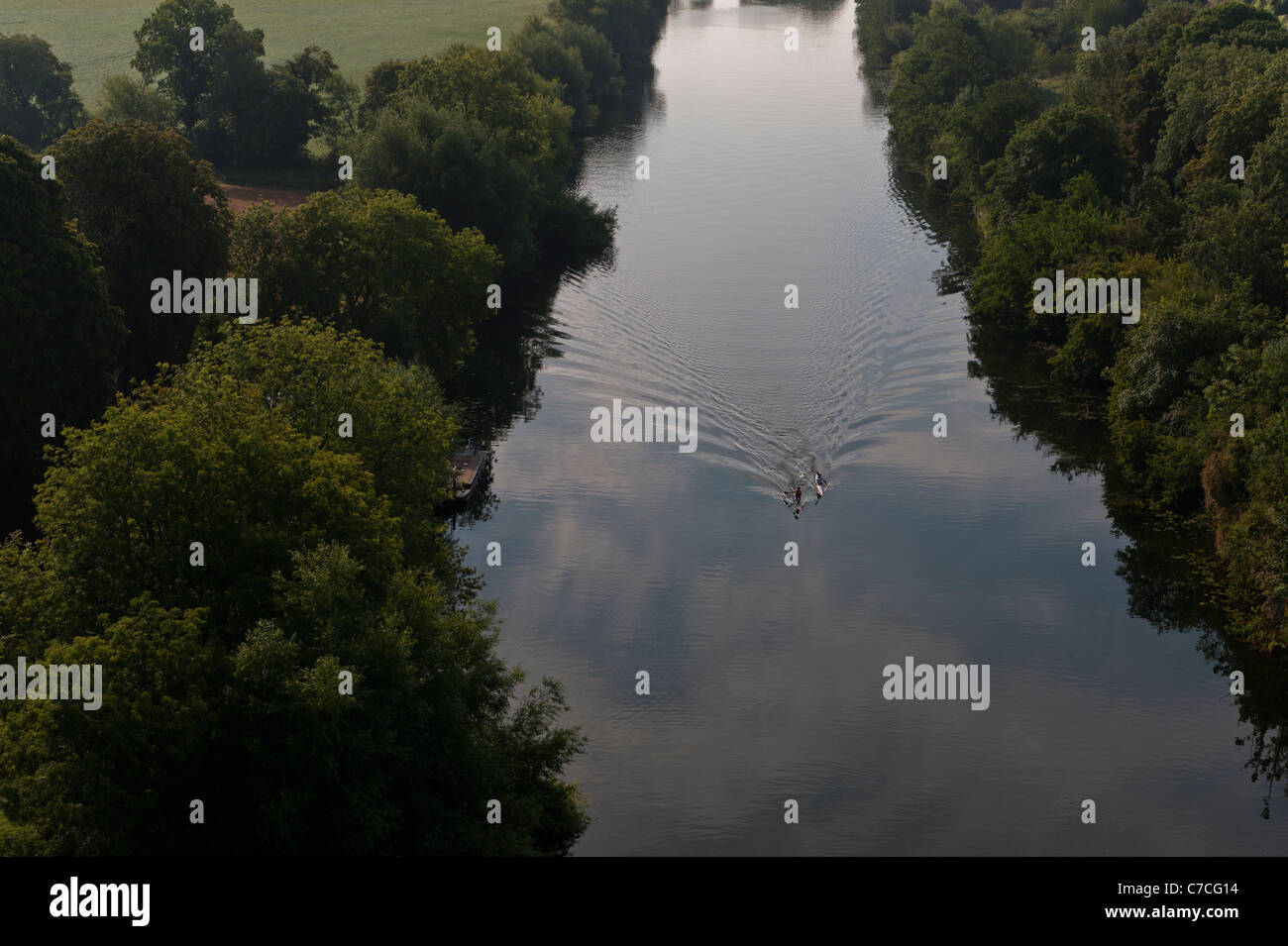 Rowers on the River Thames, aerial view, near Henley, Berkshire, UK - Stock Image