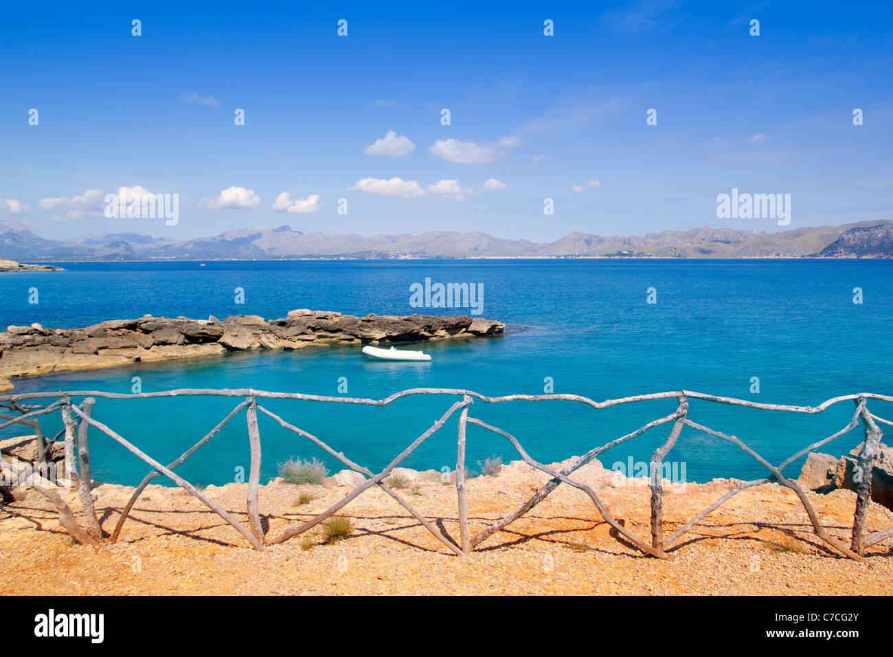 Alcudia in Mallorca la Victoria turquoise beach near s Illot from Balearic Islands - Stock Image