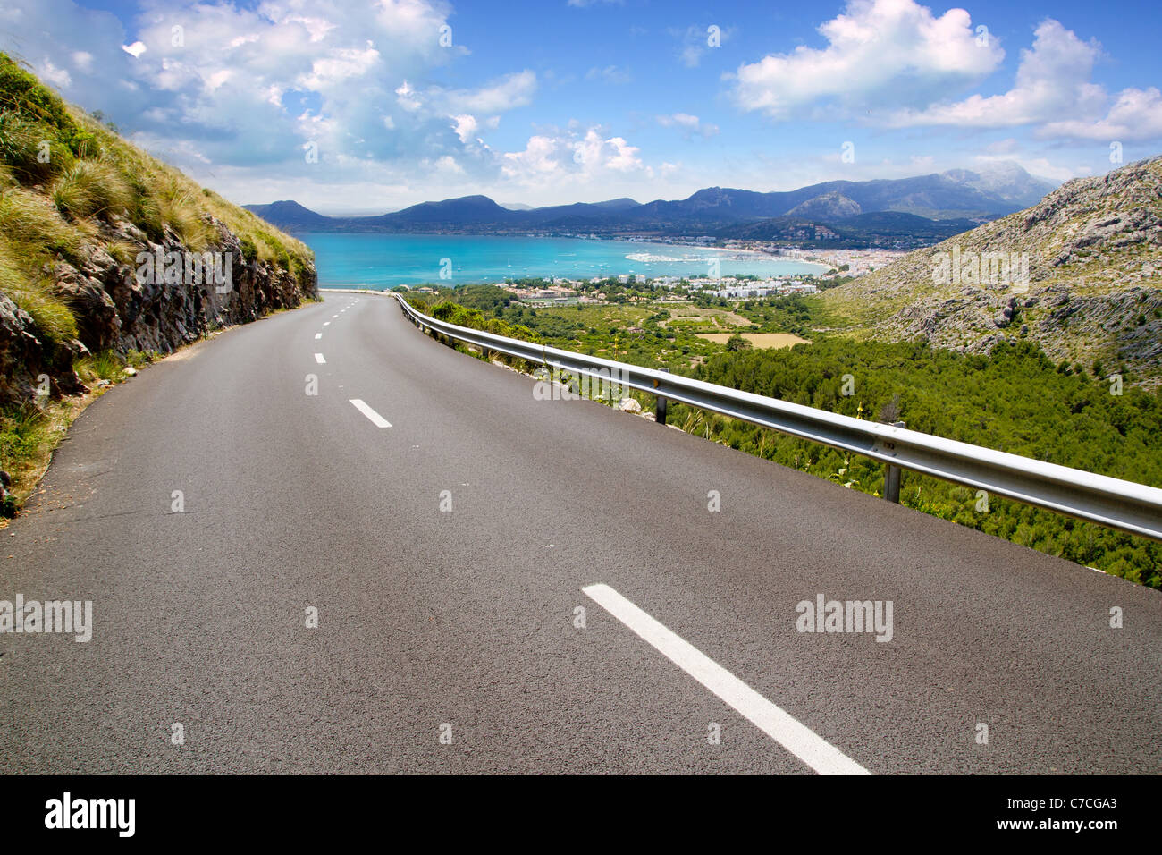 curve of road in mountain with Pollensa view in Mallorca balearic island - Stock Image