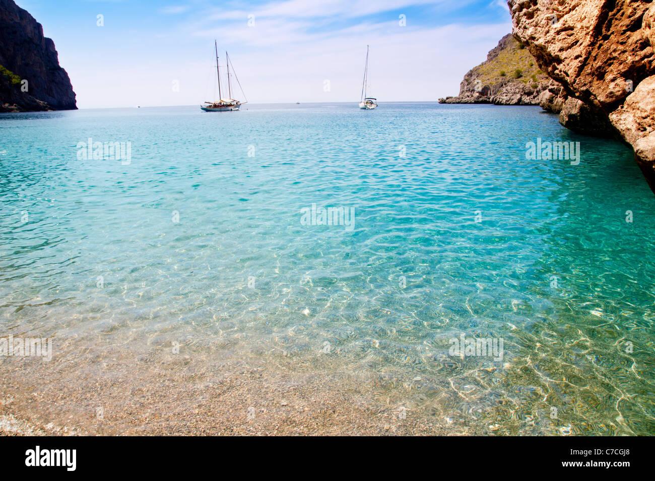 Escorca Sa Calobra beach in Mallorca balearic islands Torrent de Parlos - Stock Image