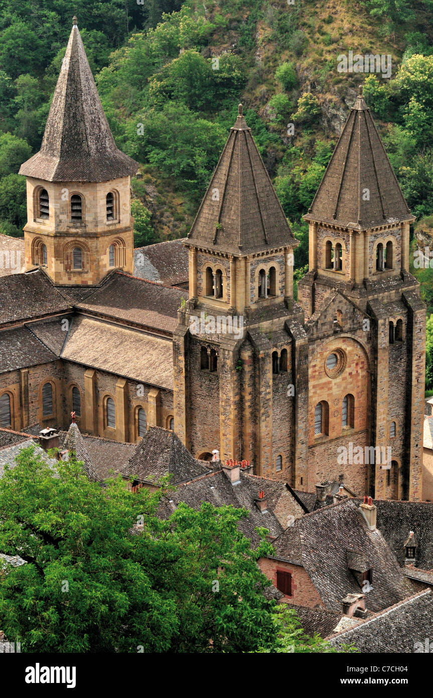 France, St. James Way: View to the Abbey St. Foy in Conques - Stock Image