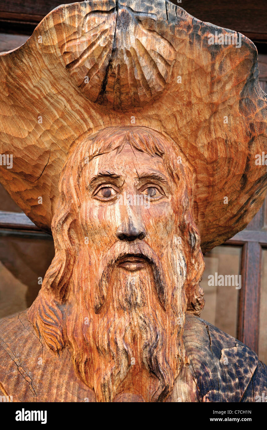 France, St. James Way: Detail of a wooden carved statue of the Apostle Saint James in Conques - Stock Image