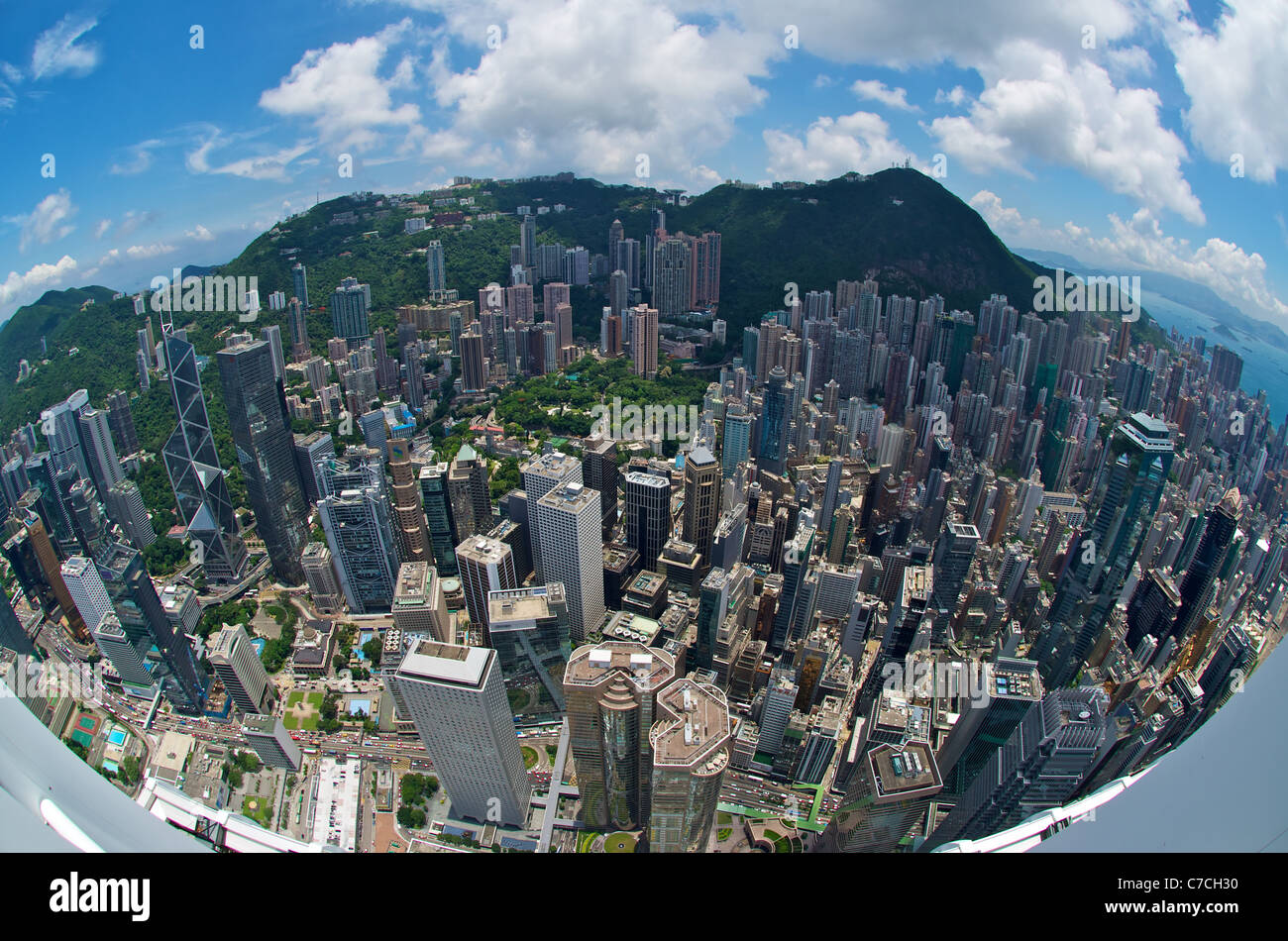 Fisheye aerial view of Hong Kong from the rooftop of IFC 2,including the Bank of China Tower, the Cheung Kong Centre, - Stock Image