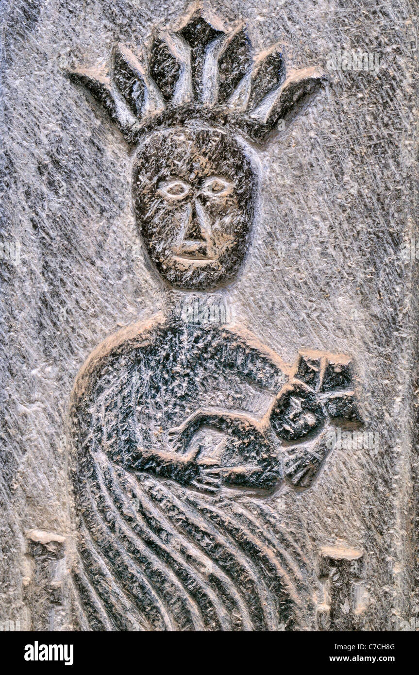 Spain, St. James Way: Romanesque stone relief on a tomb in the church La Colegiata in Roncesvalles - Stock Image
