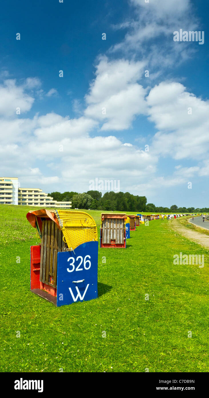 wicker beach chairs Cuxhaven, Lower Saxony Germany - Stock Image