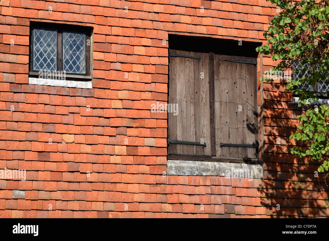 Ancient doors leaded window and tile hanging on the City Mill in the ...