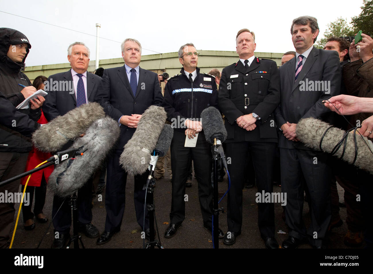 A press conference announces that the four missing miners have all been found dead at the Gleision Mine, Wales. - Stock Image