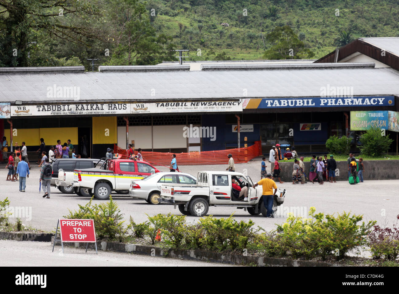 Shopping center in Tabubil, copper mine town in Papua New Guinea´s Western Province - Stock Image