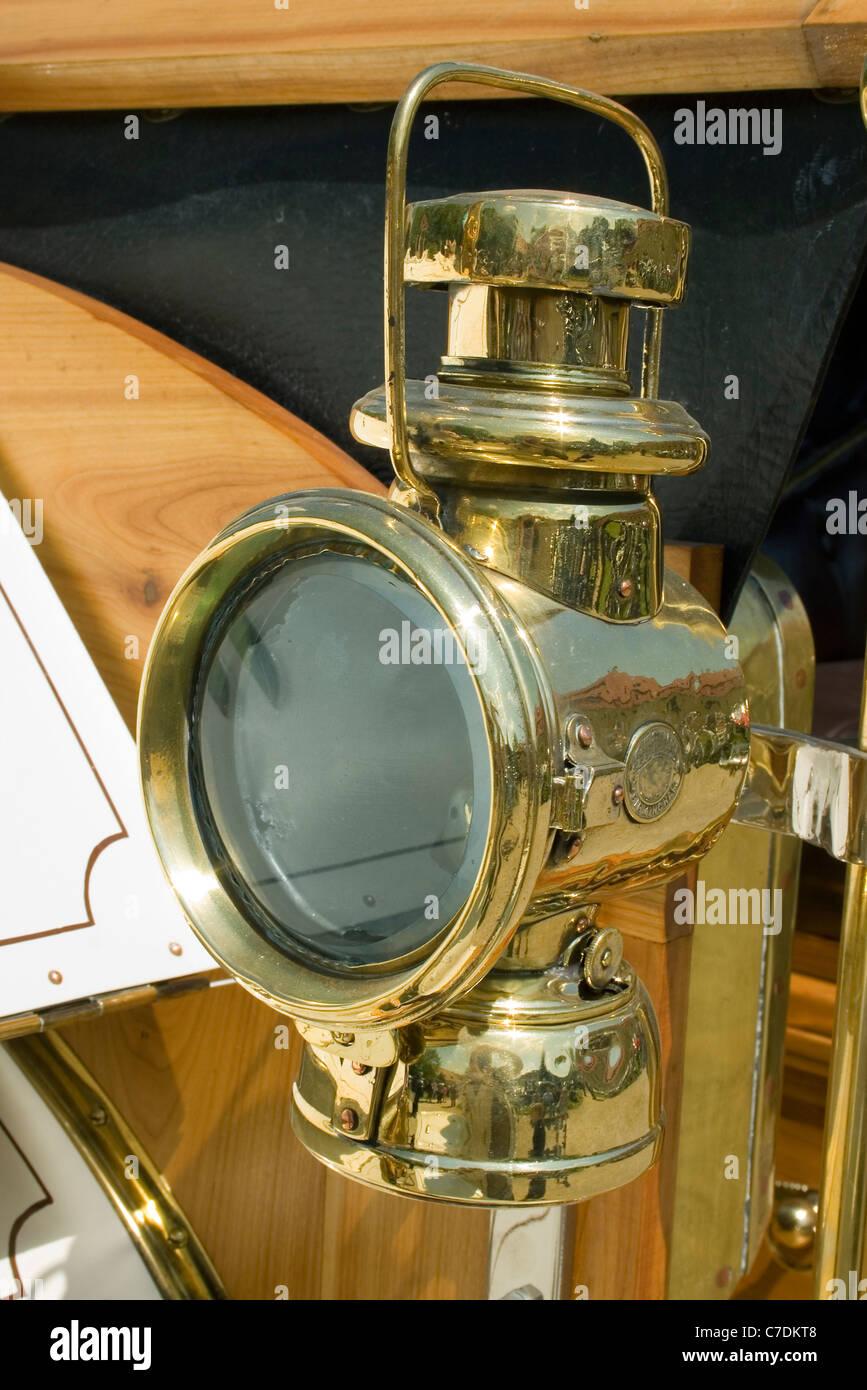 vintage brass car lamp - Stock Image