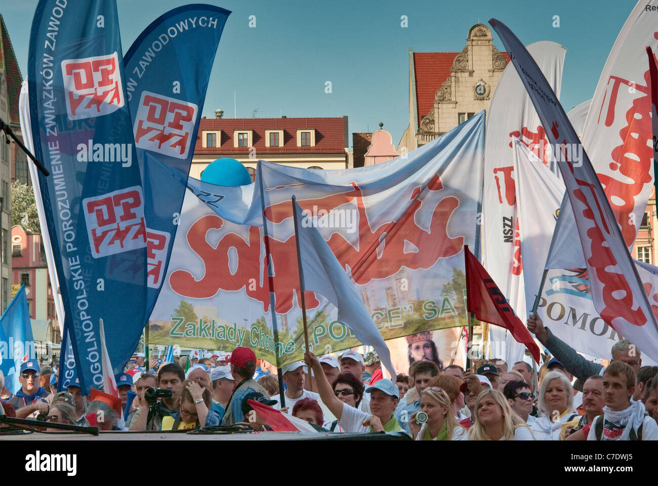 European trade unionists demonstrating during meeting of European Union finance ministers on Sep 17, 2011 in Wroclaw, - Stock Image