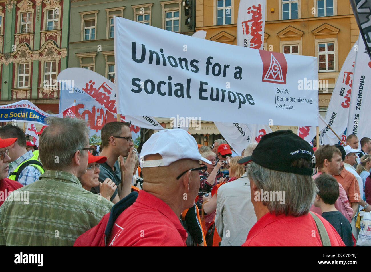 German activists, European trade unions demonstration during meeting of EU finance ministers on Sep 17, 2011 in - Stock Image