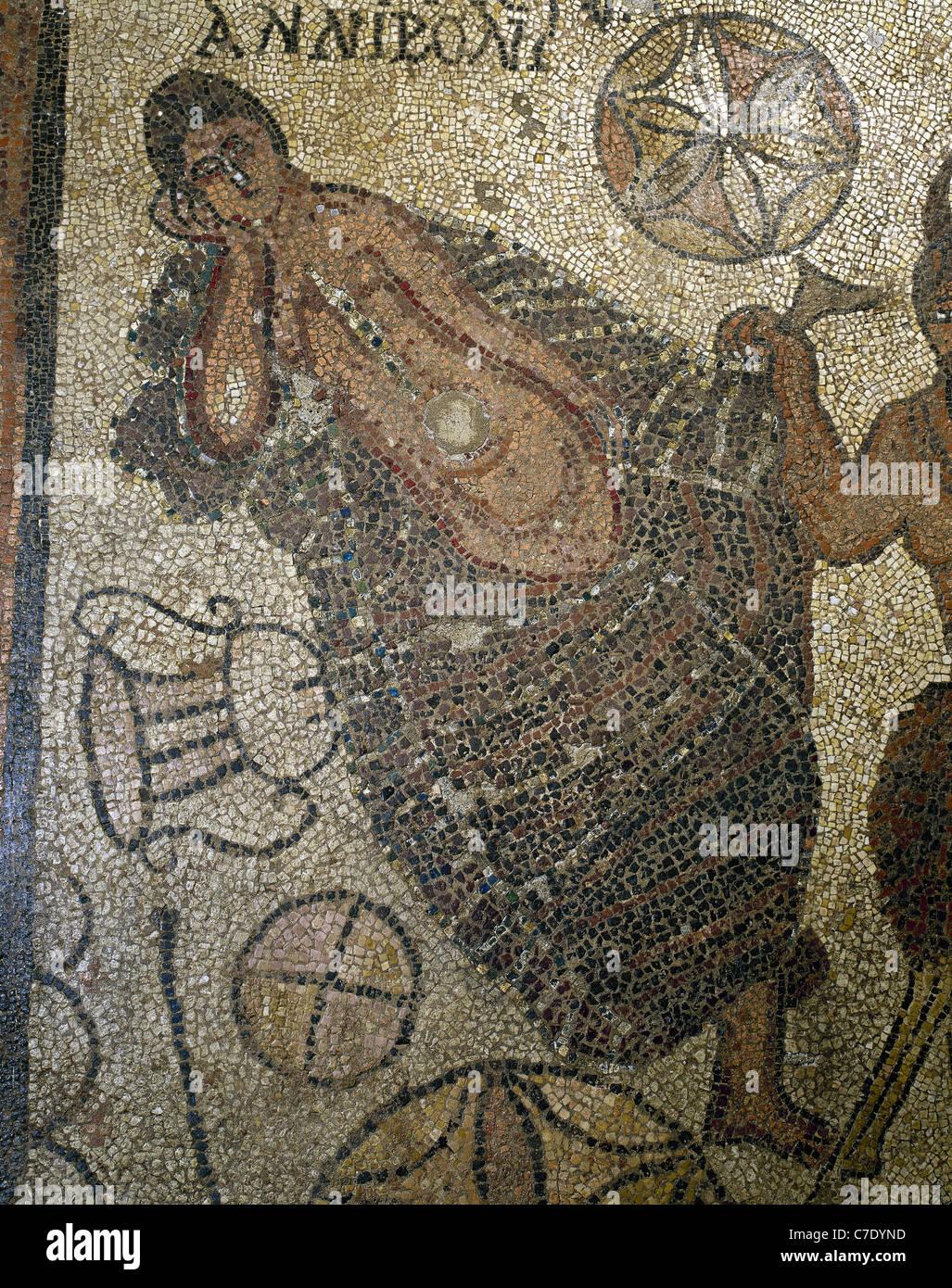 Roman mosaic depicting Ariadne sleeping. Detail of the mosaic Meeting between Ariadne and Dionysus Stock Photo
