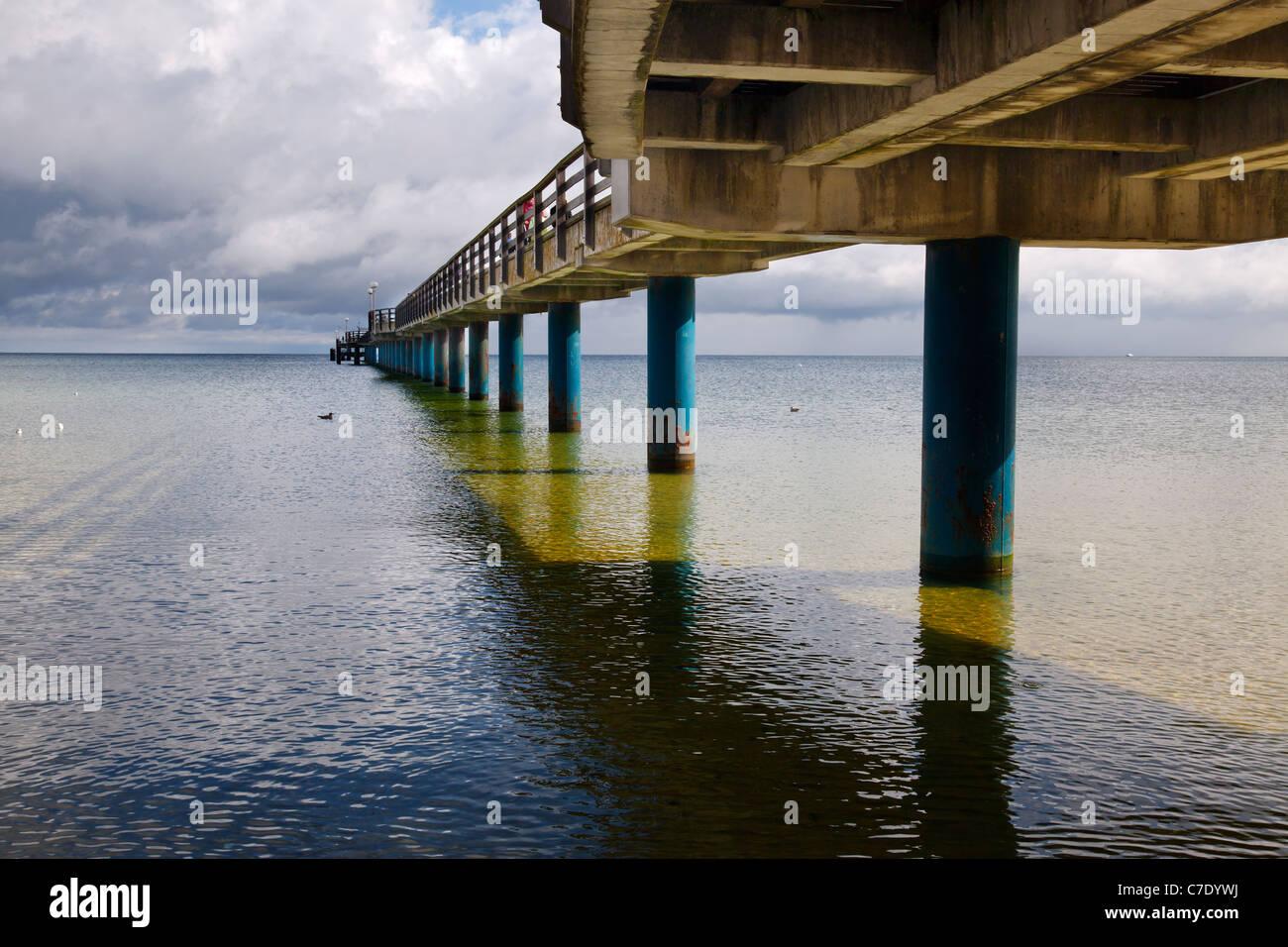 under the pier at Binz, Ruegen, Mecklenburg Vorpommern, Germany Stock Photo
