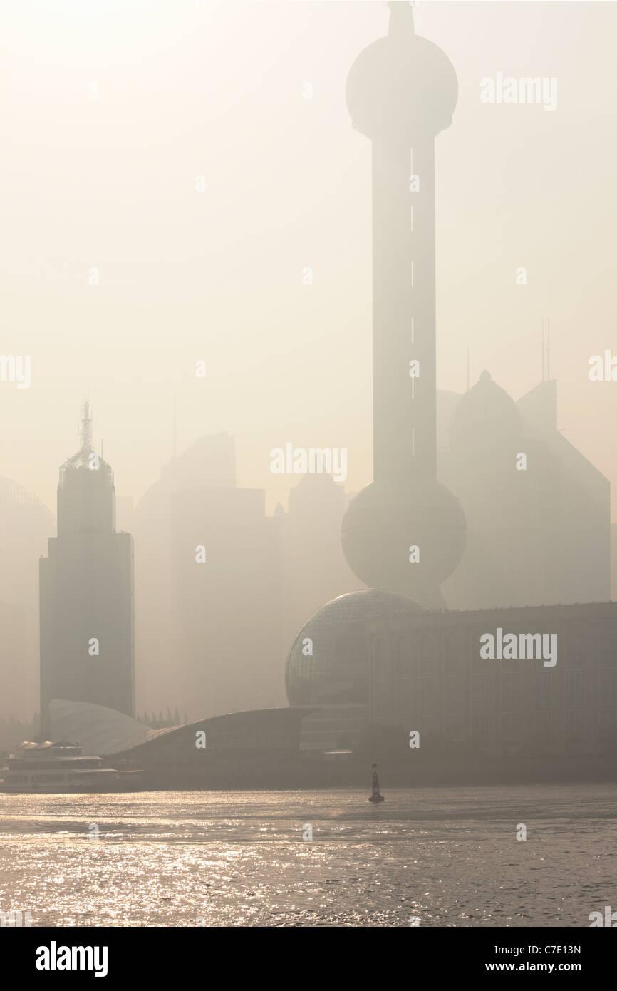Sunrise over Pudong, Shanghai, China - Stock Image