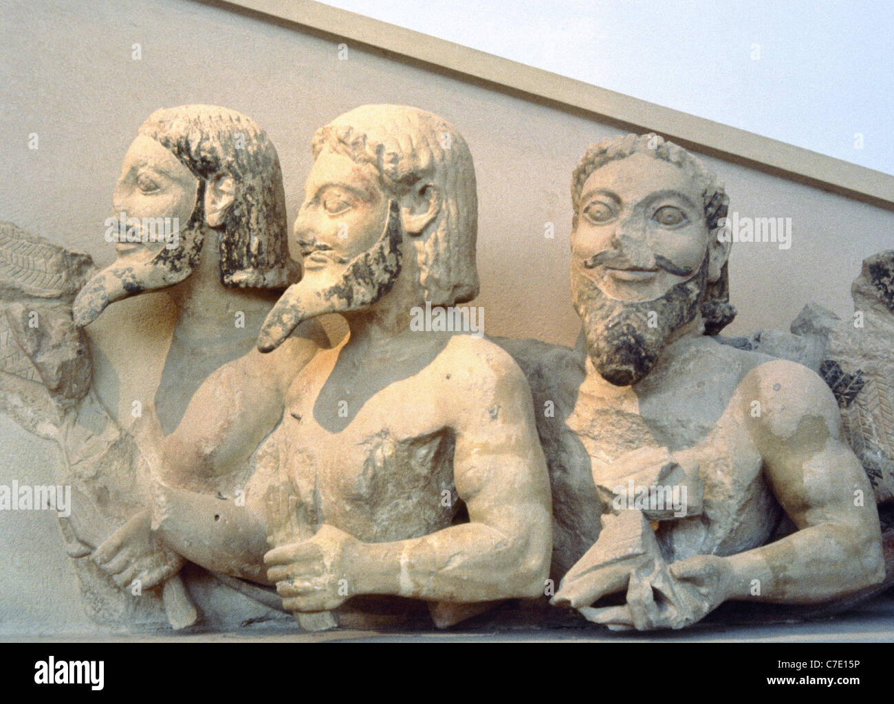 Triple-bodied Monster, know as Bluebeard. Pediment of the Hekatompedon of the Acropolis. 6th century BC. - Stock Image