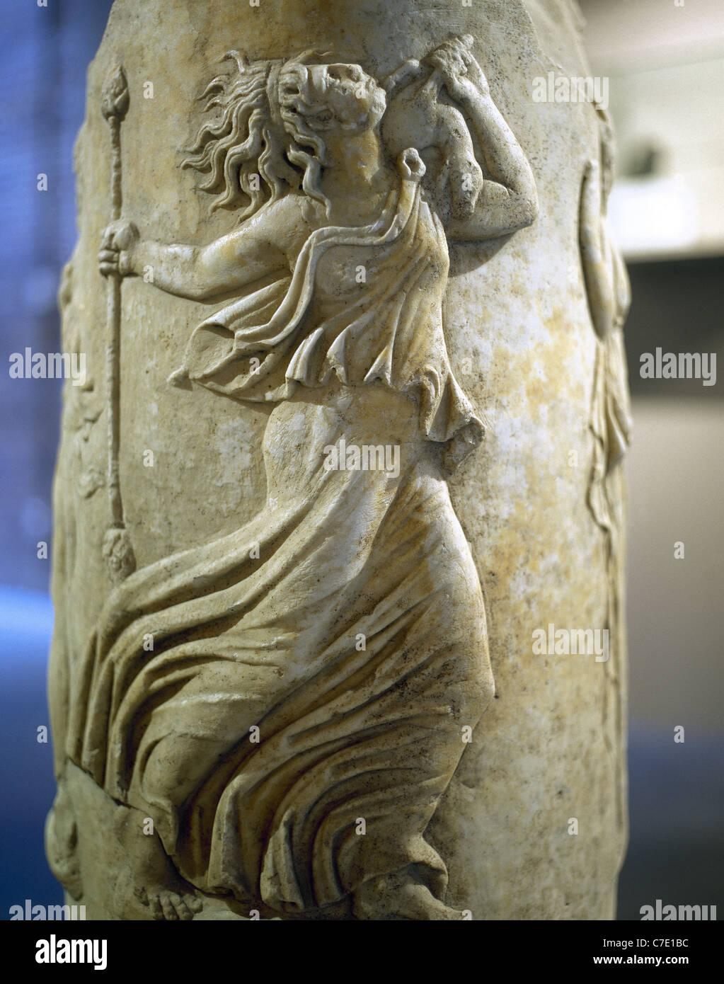 Dancing Maenad. Circular Altar. Pulpitum of the Italica Theater. 1st century. Archaeological Museum. Seville. Spain. Stock Photo