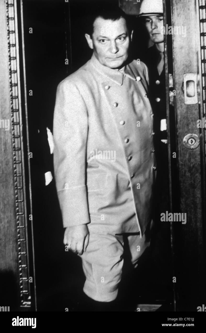 German Field Marshal Hermann Goering under guard during his trail for crimes against humanity Nuremberg, Germany. - Stock Image