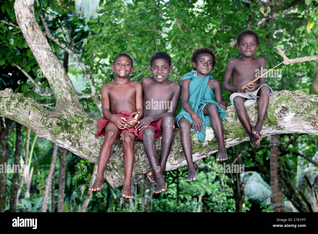 Boys siting on a trunk of a tree, Bougainville Island, Papua New Guinea - Stock Image