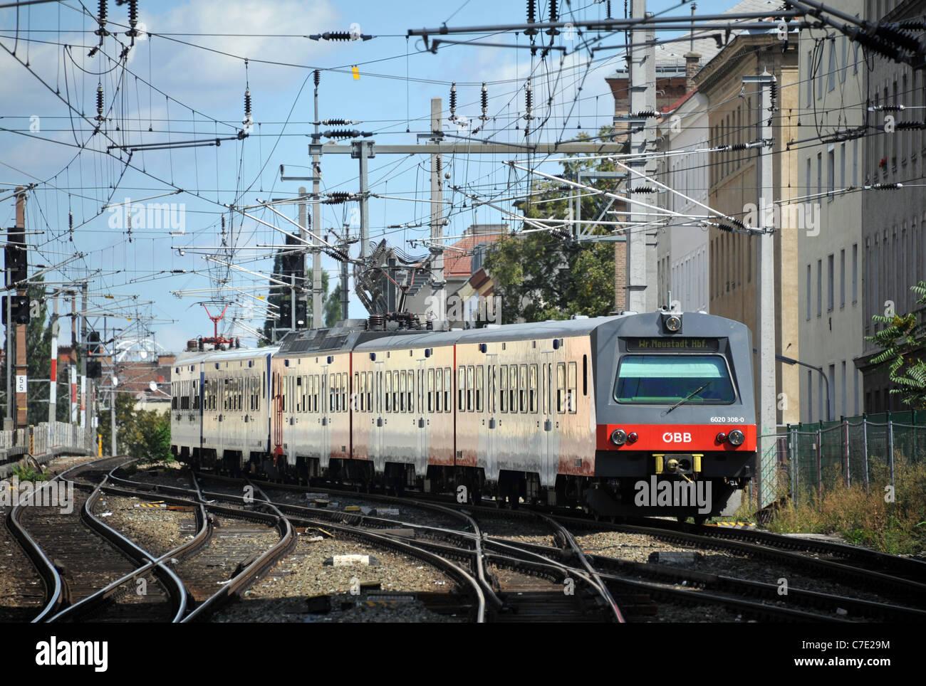 Railway, train, Vienna, Austria - Stock Image