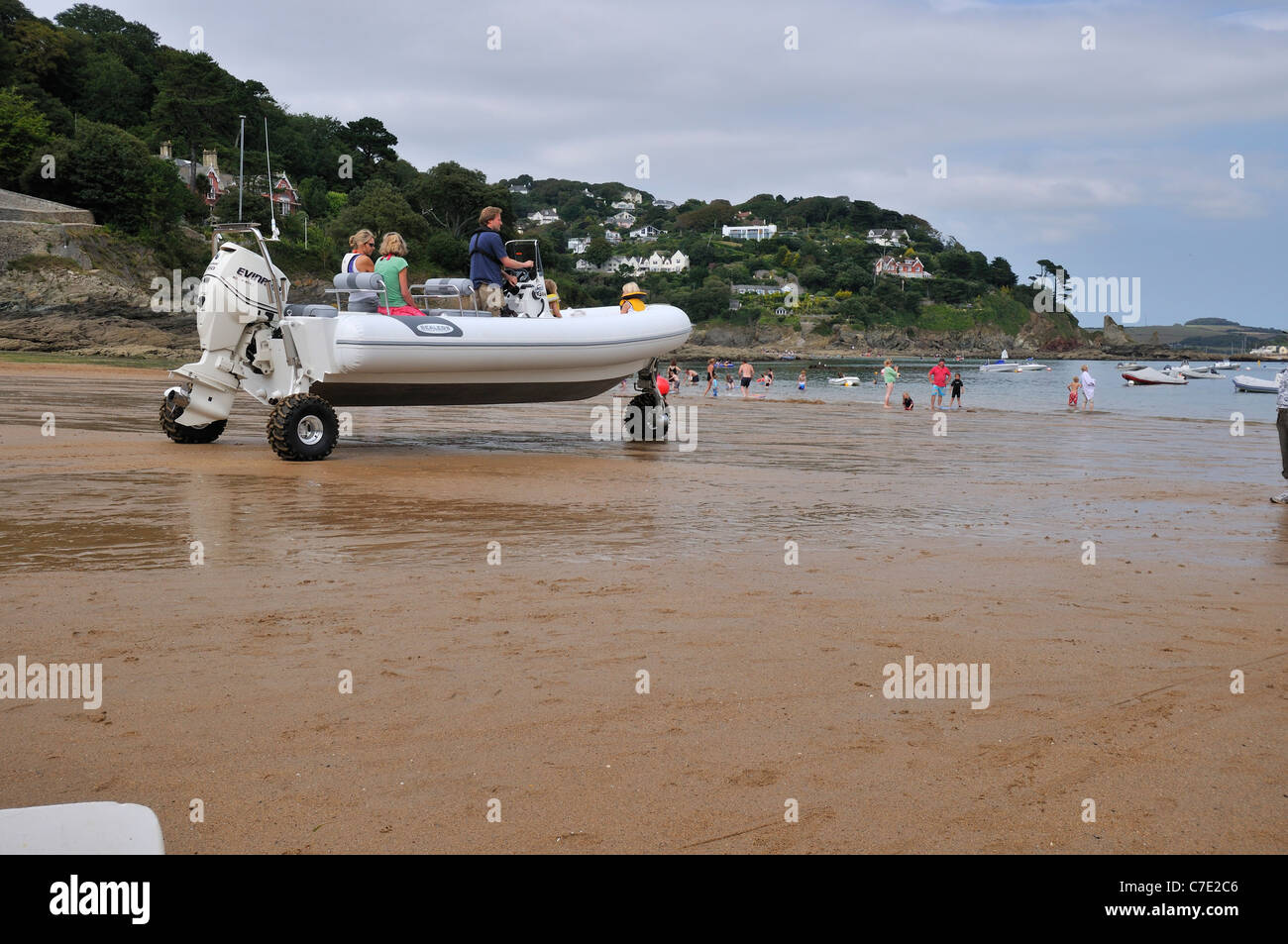 Sea legs amphibious craft  (rib) drives on South Sands Salcombe Devon to the waters edge . - Stock Image