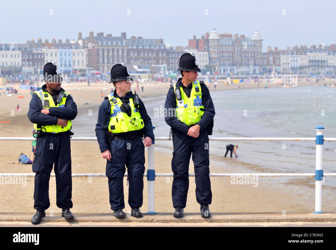Police officers on duty, Weymouth, Dorset, Britain, UK - Stock Image