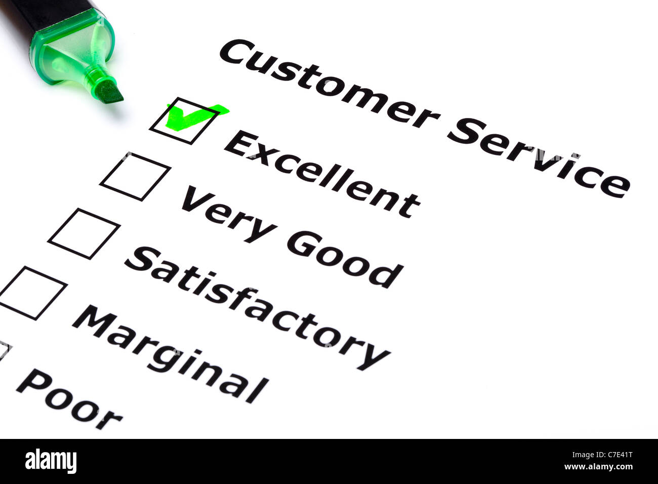 Customer service survey with green tick on Excellent with felt tip pen. - Stock Image